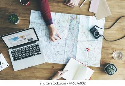 Map Travel Trip Destination Direction Planning Concept