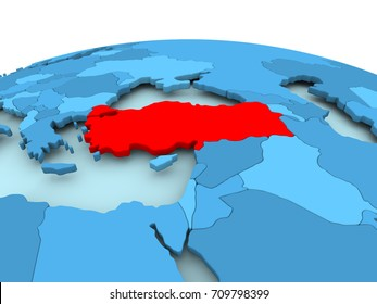 Map of Turkey in red on blue political globe. 3D illustration.