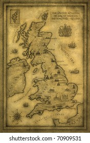 Map of UK. Ink & pencil on paper.