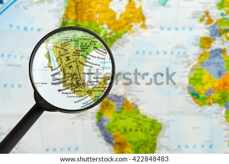 Map United Mexican States Through Magnifying Stock Photo (Edit Now ...