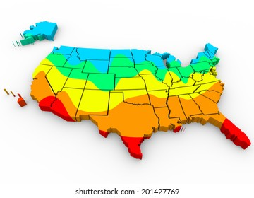 map United States of America with regions color coded average temperatures