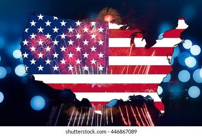 Map United States flag On a blue background bokeh Fireworks celebration on Independence Day.