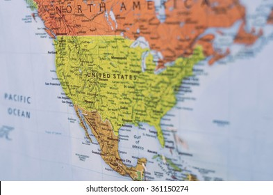 map of united states and north america, with selective focus
