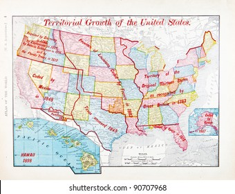 A map of the United States showing the steps in which the US grew over time from Spofford's Atlas of the World, printed in the United States in 1900, created by Rand McNally & Co.