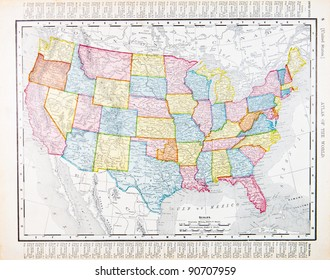 A map of the United States from Spofford's Atlas of the World, printed in the United States in 1900, created by Rand McNally & Co.