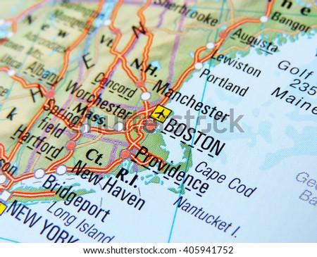 Map USA Focus On Boston Stock Photo (Edit Now) 405941752 - Shutterstock