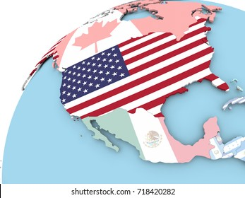 Map of USA on political globe with embedded flag. 3D illustration.