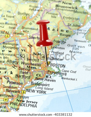 map usa pin set on boston stock photo edit now 403381132