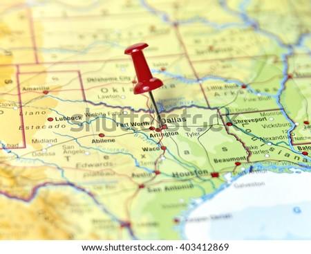 Map USA Pin Set On Dallas Stock Photo (Edit Now) 403412869 ... Dallas Map Usa on