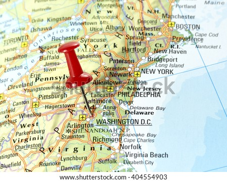 Map Usa Pin Set On Washington Stock Photo Edit Now 404554903