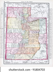 A map of Utah, USA from Spofford's Atlas of the World, printed in the United States in 1900, created by Rand McNally & Co.