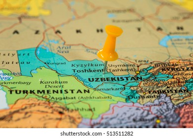 Map of Uzbekistan with a orange pushpin stuck