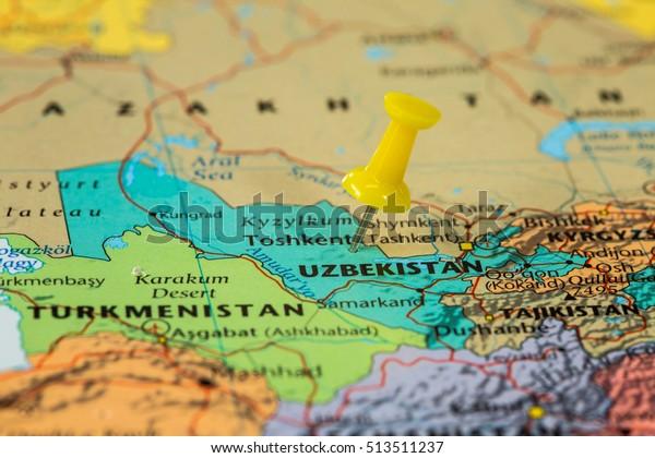 Map of  Uzbekistan with a yellow pushpin stuck