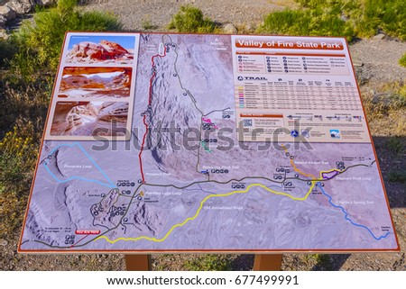 Map Valley Fire State Park Overton Stock Photo Edit Now 677499991