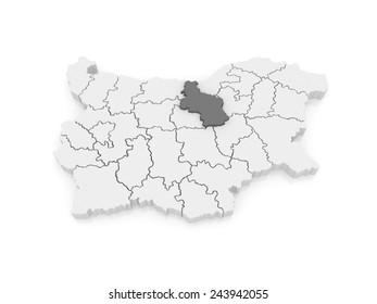 Map of Veliko Tarnovo Province. Bulgaria. 3d