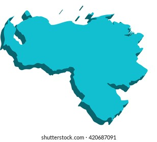 A map of Venezuela 3D on white background