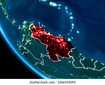Map of Venezuela in red as seen from space on planet Earth at night with white borderlines and city lights. 3D illustration. Elements of this image furnished by NASA.