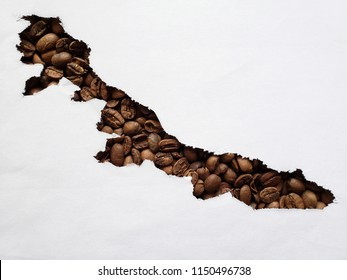 map of Veracruz with roasted coffee beans and white background