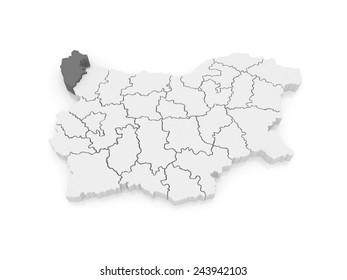 Map of Vidin Province. Bulgaria. 3d