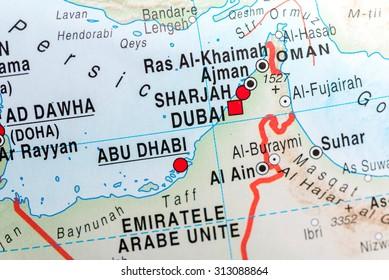 map view of abu dhabi and dubai