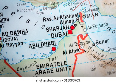 Uae map stock photos images photography shutterstock map view of abu dhabi and dubai vignette gumiabroncs Images