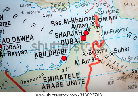 Map View Abu Dhabi Dubai Vignette Stock Photo (Edit Now) 313093703 ...