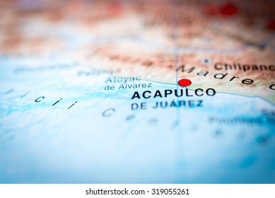 Map view of Acapulco, Mexico. (vignette)