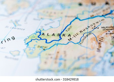 Map view of Alaska state, United States of America.