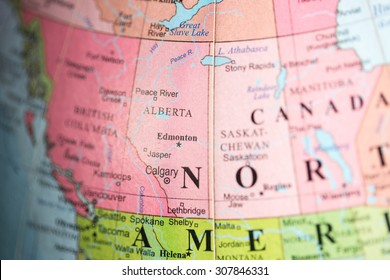 Map view of Alberta, Canada on a geographical map.