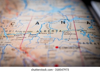 Map view of Alberta State, Canada. (vignette)