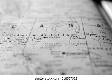 Map view of Alberta State, Canada.