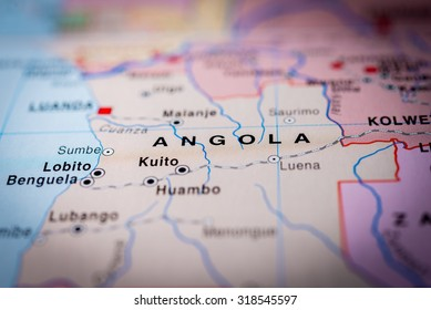 Map view of Angola State, Africa. (vignette)