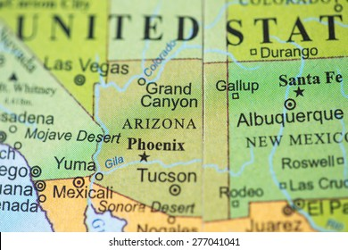 Map view of Arizona on a geographical globe.
