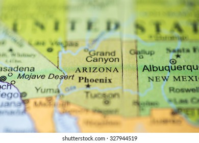 Geographical Map Of Arizona.Map View Arizona On Geographical Globe Stock Photo Edit Now