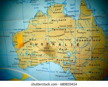 Australia Map With Landmarks Stock Photos Images Photography