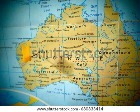 Map View Australia On World Map Stock Photo Edit Now 680833414