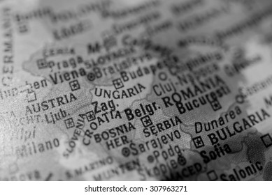 Map view of Belgrade on a geographical globe