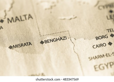 Map view of Benghazi, Libya on a geographical map of Africa.