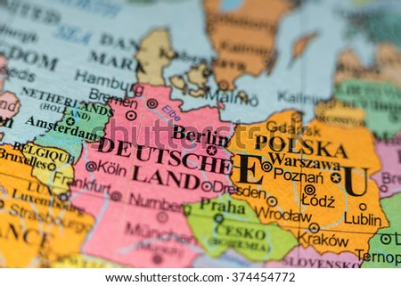 Map View Berlin Germany On Geographical Stock Photo Edit Now