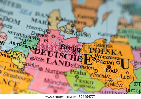 Geographical Map Of Germany.Map View Berlin Germany On Geographical Stock Photo Edit Now 374454772