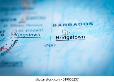 Map view of Bridgetown, Barbados. (vignette)