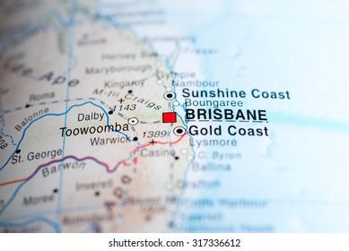 Map view of Brisbane, Australia.