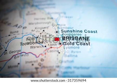 Map View Brisbane Australia Vignette Stock Photo (Edit Now ...