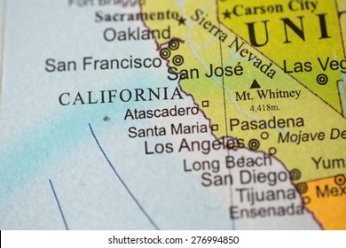 Map view of California on a geographical globe.