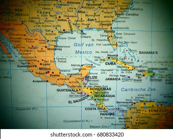 Map view of central america countries on a world map.