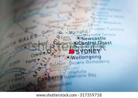 Central Coast Australia Map.Map View Central Coast Australia Vignette Stock Photo Edit Now