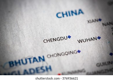 Map view of Chengdu, China on a geographical map of Asia.