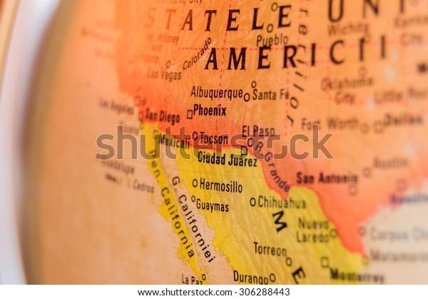 Map view of Ciudad Juarez on a geographical globe