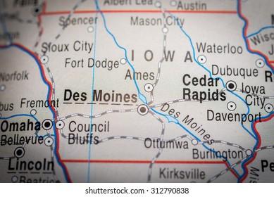 Map view of Des Moines. (vignette)