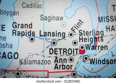 Map view of Detroit. (vignette)